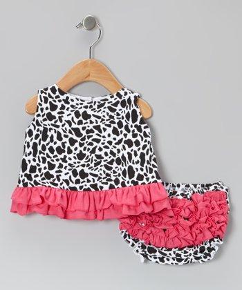 Black & Hot Pink Ruffle Swing Top & Diaper Cover - Infant