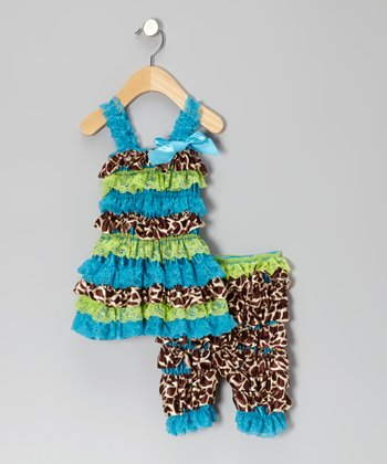Blue & Green Giraffe Dress & Shorts - Infant
