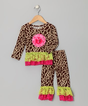 Giraffe Lace Ruffle Tunic & Leggings - Infant