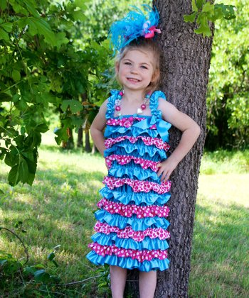 Turquoise & Pink Polka Dot Satin Dress - Infant, Toddler & Girls