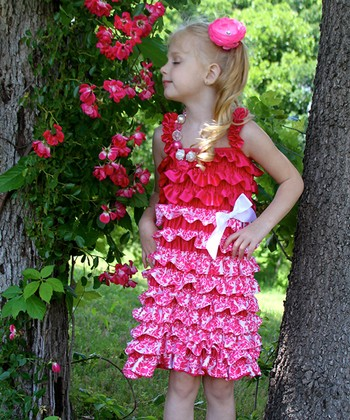 Hot Pink Damask Satin Ruffle Dress - Infant, Toddler & Girls