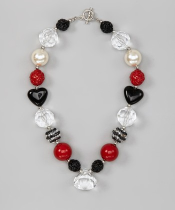 Red & Black Heart Gem Necklace