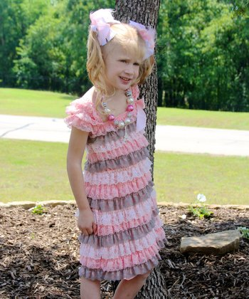 Pink & Gray Lace Ruffle Dress - Infant, Toddler & Girls