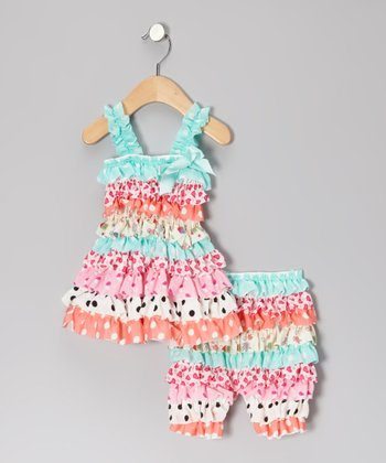 Aqua & Coral Polka Dot Dress & Shorts - Infant