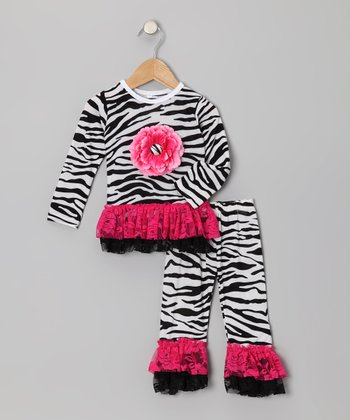Zebra Lace Ruffle Tunic & Leggings - Infant