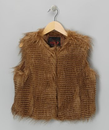 Brown Faux Fur Vest - Girls