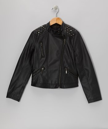 Black Embellished Faux Leather Jacket
