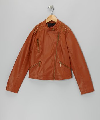 Cognac Embellished Faux Leather Jacket