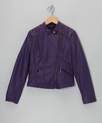 Purple Embellished Faux Leather Jacket