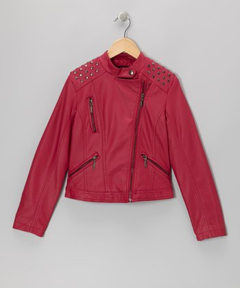 Fuchsia Embellished Faux Leather Jacket