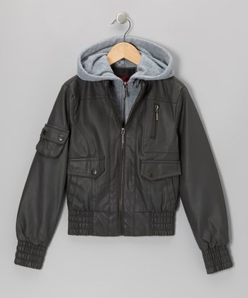 Charcoal Faux Leather Hooded Jacket