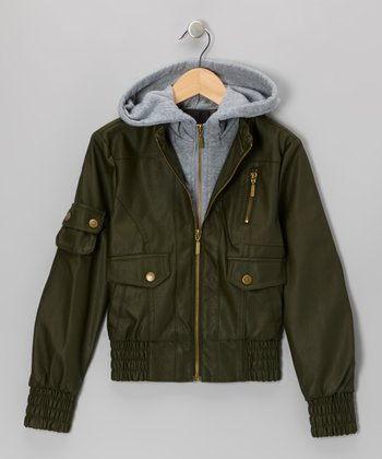 Olive Faux Leather Hooded Jacket
