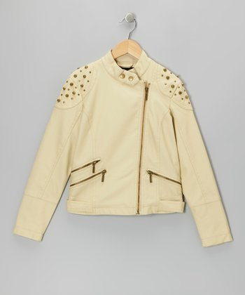 Stone Studded Faux Leather Jacket