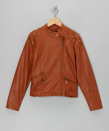 Cognac Studded Faux Leather Jacket
