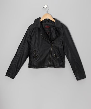Black Zip-Pocket Faux Leather Jacket