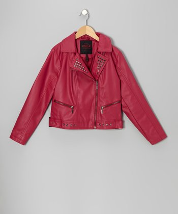 Fuchsia Mini Stud Faux Leather Jacket
