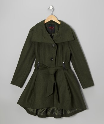 Olive Trench Coat - Girls