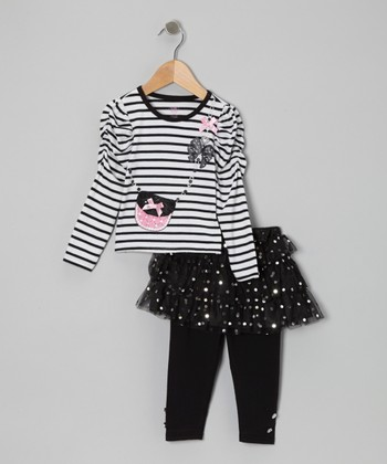Black Stripe Long-Sleeve Tee Set - Toddler
