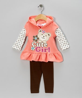 Orange 'Cute Girl' Layered Tunic & Leggings - Infant & Toddler