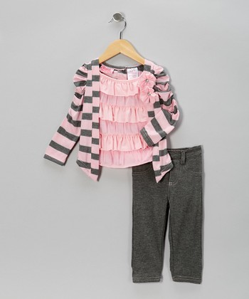 Pink Stripe Layered Top & Gray Jeggings - Toddler