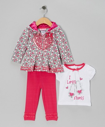 Dark Pink Hearts Zip-Up Hoodie Set - Infant & Toddler
