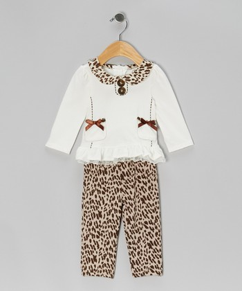 White Double-Bow Top & Beige Leopard Pants - Infant & Toddler