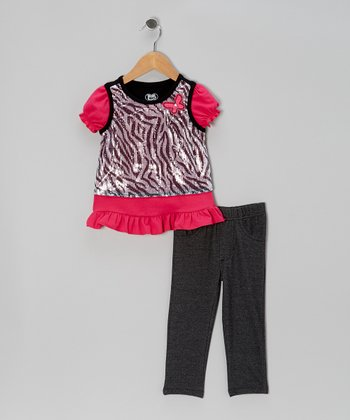 Dark Pink Sparkle Layered Top & Pants - Infant & Girls