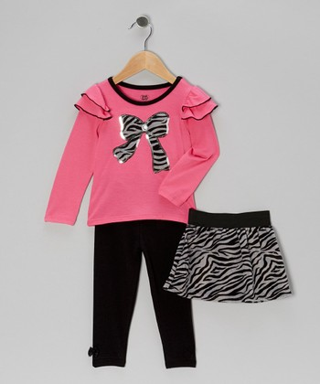 Bright Pink Bow Top Set - Infant, Toddler & Girls