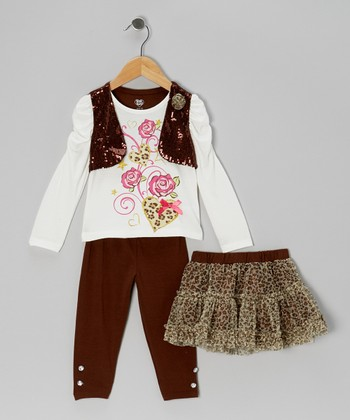 Brown Sparkle Layered Top Set - Infant, Toddler & Girls