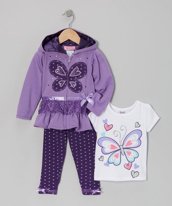 Purple Butterfly Zip-Up Hoodie Set - Infant, Toddler & Girls
