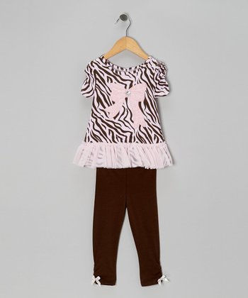 Light Pink Bow Ruffle Tunic & Brown Leggings - Infant & Toddler