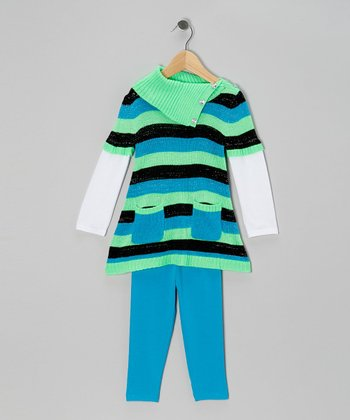 Aqua Stripe Layered Tunic & Leggings - Infant, Toddler & Girls