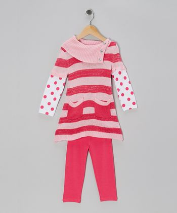 Pink Stripe Layered Tunic & Leggings - Infant & Toddler
