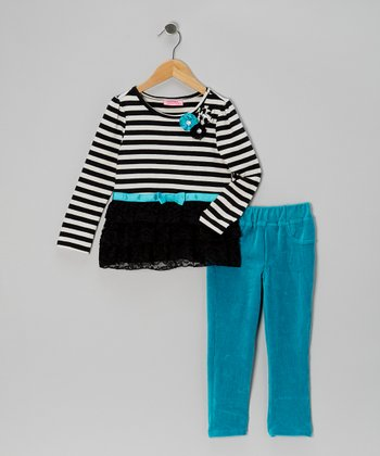 Black Stripe Top & Teal Pants - Girls