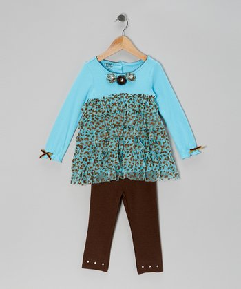 Blue Teal Leopard Tunic & Brown Leggings - Infant, Toddler & Girls