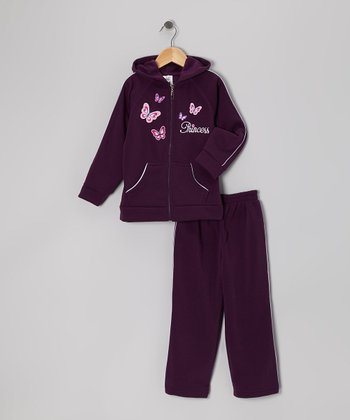 Dark Purple Butterfly Zip-Up Hoodie & Sweatpants - Infant & Girls