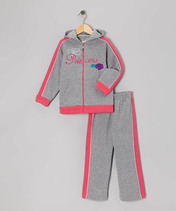 Gray & Fuchsia Zip-Up Hoodie & Sweatpants - Infant, Toddler & Girls