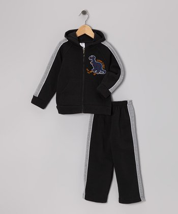 Black Dinosaur Zip-Up Hoodie & Sweatpants - Infant & Toddler