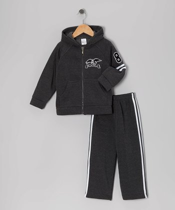 Charcoal 'Eagle' Zip-Up Hoodie & Sweatpants - Toddler