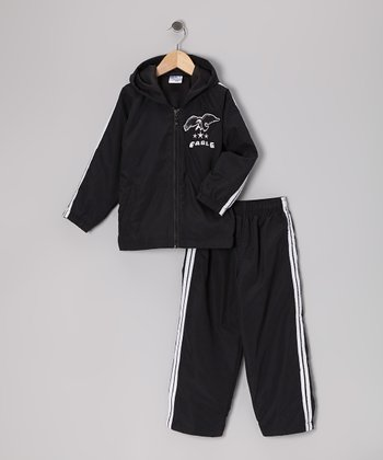 Black 'Eagle' Warm-Up Jacket & Pants - Toddler & Boys