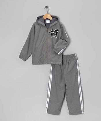 Gray 'Eagle' Warm-Up Jacket & Pants - Toddler & Boys