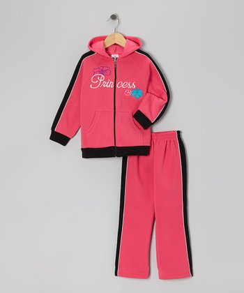 Pink & Black Zip-Up Hoodie & Sweatpants - Girls