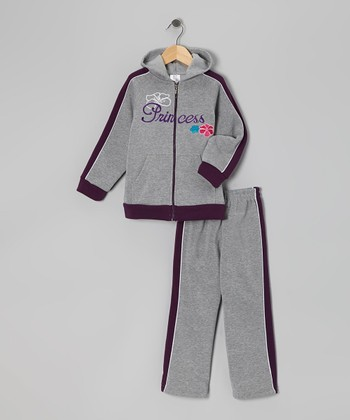 Gray Zip-Up Hoodie & Sweatpants - Girls