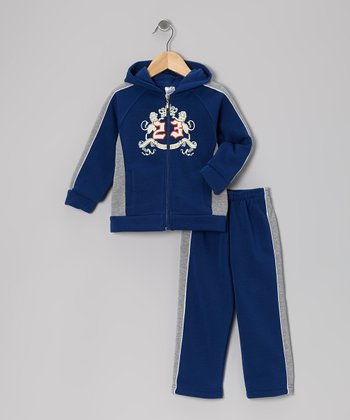 Indigo '23' Zip-Up Hoodie & Sweatpants - Toddler