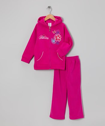Raspberry Flower 'Princess' Zip-Up Hoodie & Sweatpants - Girls