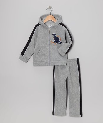 Gray Dinosaur Zip-Up Hoodie & Sweatpants - Infant