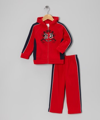 Red '23' Lion Zip-Up Hoodie & Sweatpants - Toddler