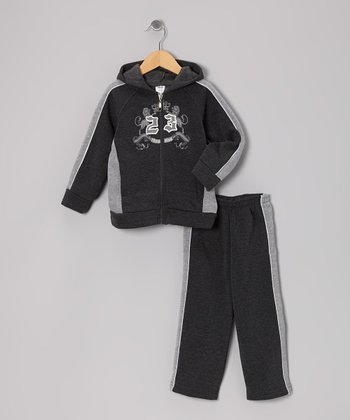 Charcoal '23' Zip-Up Hoodie & Sweatpants - Toddler