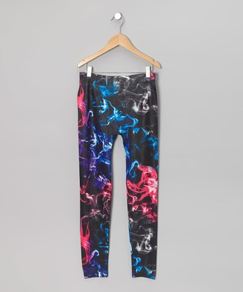 Blue & Pink Smoke Leggings - Girls
