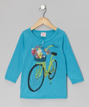 Turquoise Shimmer Bike Top - Girls